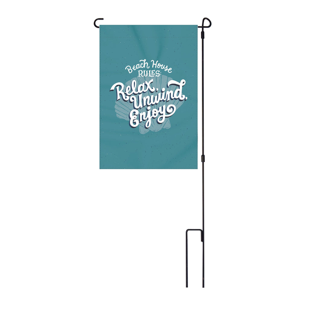 River's Edge Products Lawn Yard Decor Double Sided Flag 14-Inch x 22-Inch with Pole - Beach House Rules Relax, Unwind, Enjoy