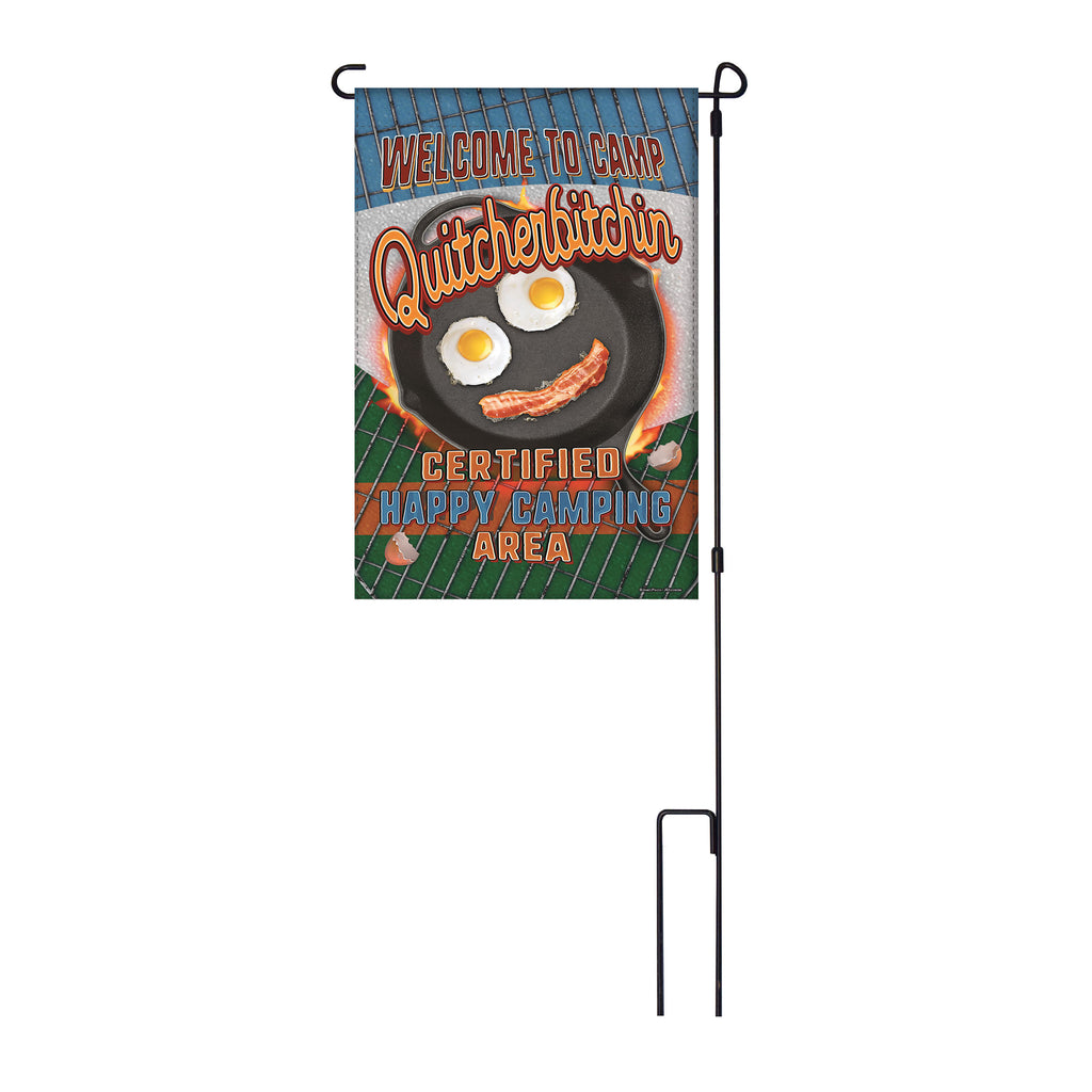 River's Edge Products Lawn Yard Decor Double Sided Flag 14-Inch x 22-Inch with Pole - Welcome to Camp Quitcherbitchin Certified Happy Camping Area