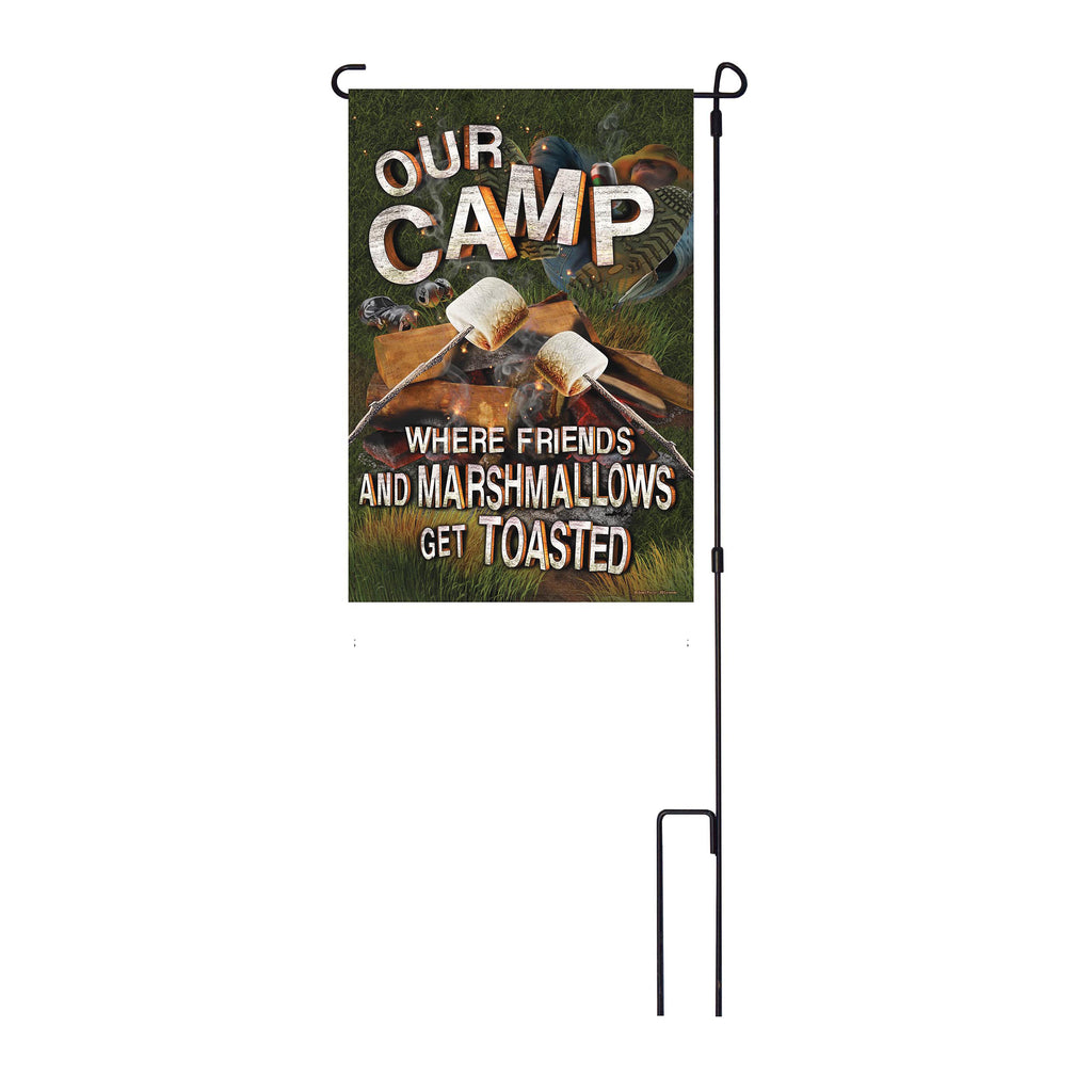 River's Edge Products Lawn Yard Decor Double Sided Flag 14-Inch x 22-Inch with Pole - Our Camp Where Friends And Marshmallows Get Toasted