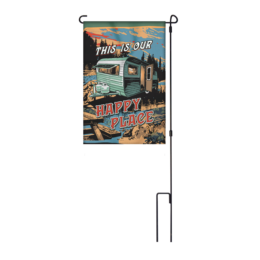 River's Edge Products Lawn Yard Decor Double Sided Flag 14-Inch x 22-Inch with Pole - This is Our Happy Place