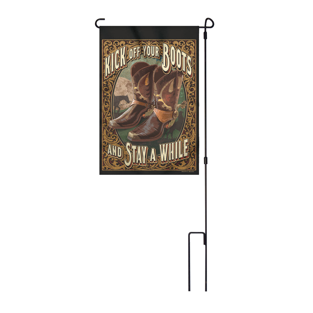 River's Edge Products Lawn Yard Decor Double Sided Flag 14-Inch x 22-Inch with Pole - Kick Off Your Boots and Stay a While