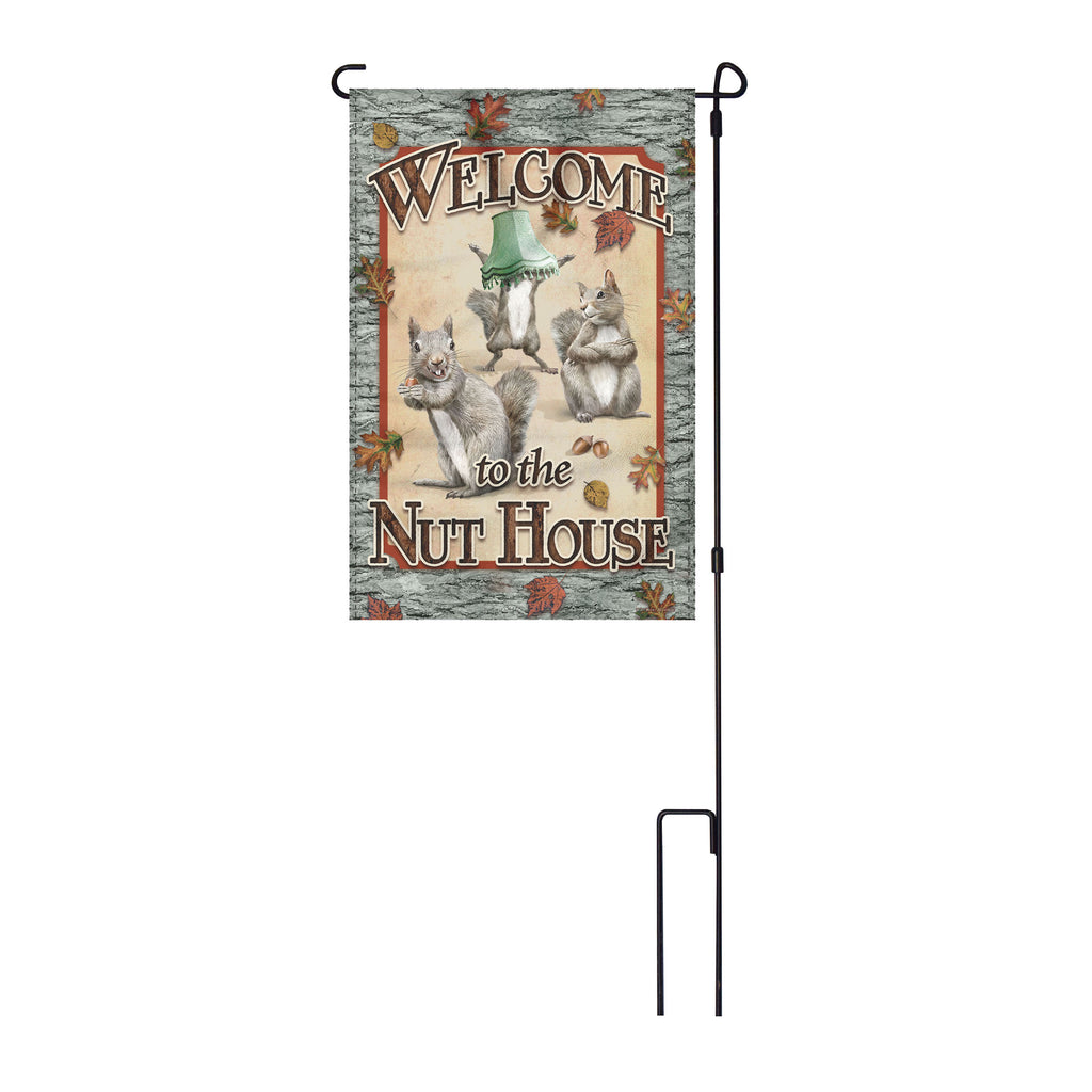 River's Edge Products Lawn Yard Decor Double Sided Flag 14-Inch x 22-Inch with Pole - Welcome To the Nut House