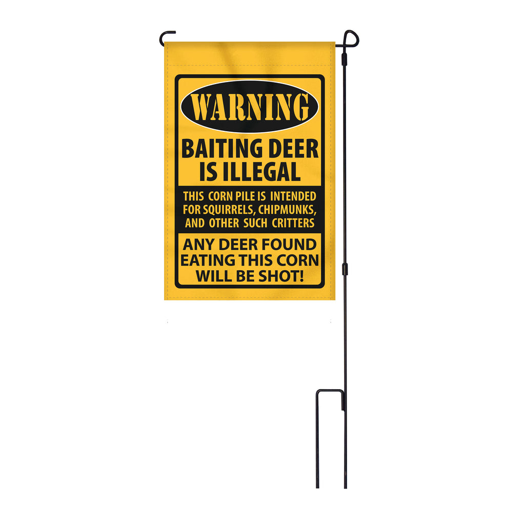 River's Edge Products Lawn Yard Decor Double Sided Flag 14-Inch x 22-Inch with Pole - Warning Baiting Deer is Illegal