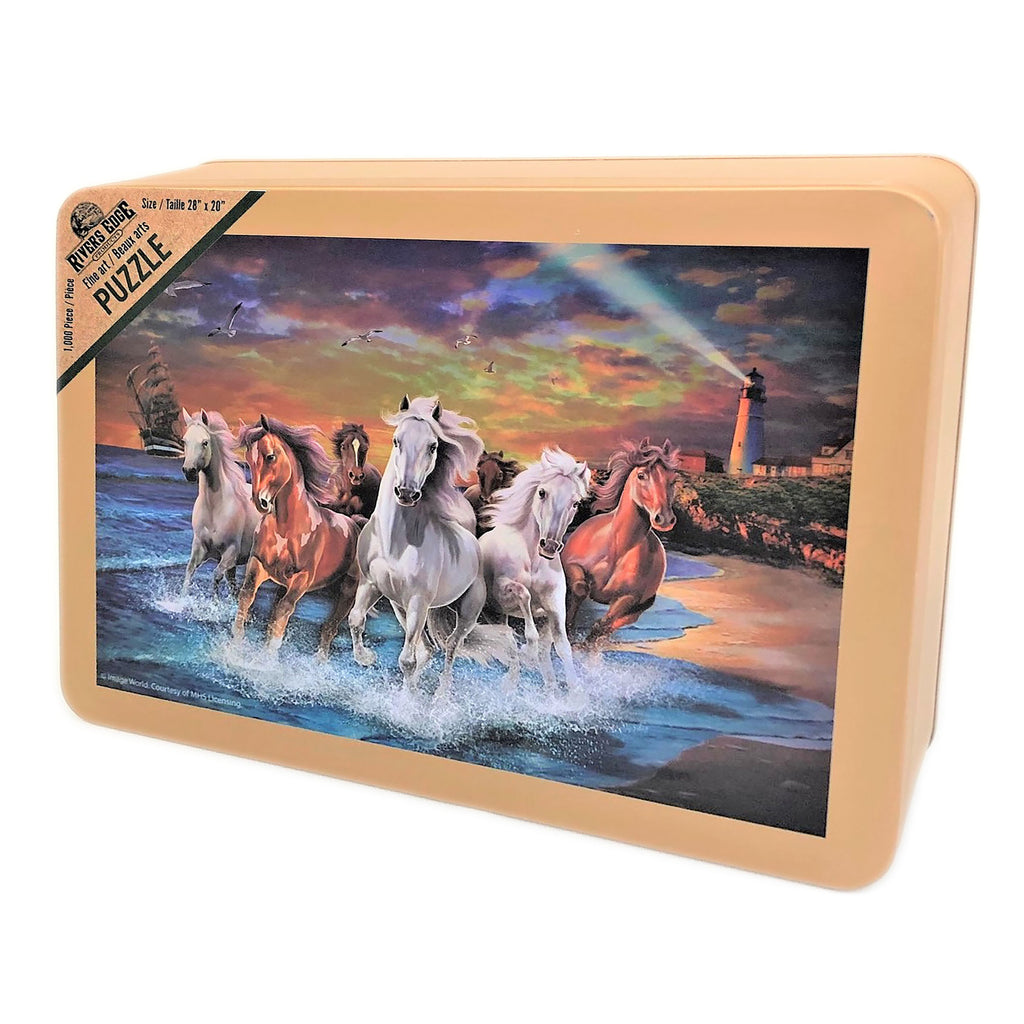 Jigsaw Puzzle in Tin 1000-Piece - Horses on Seashore