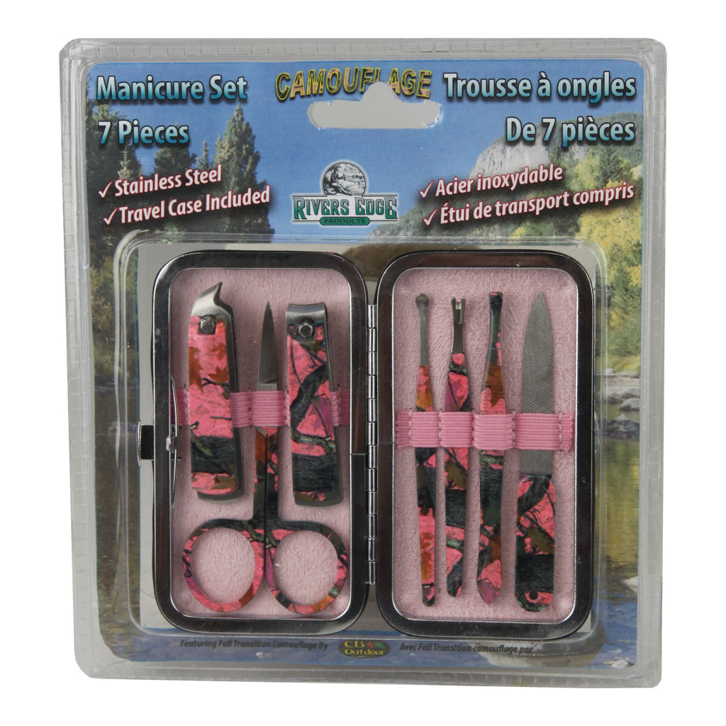 Manicure Set, 7-Piece Travel Size, Pink Camouflage