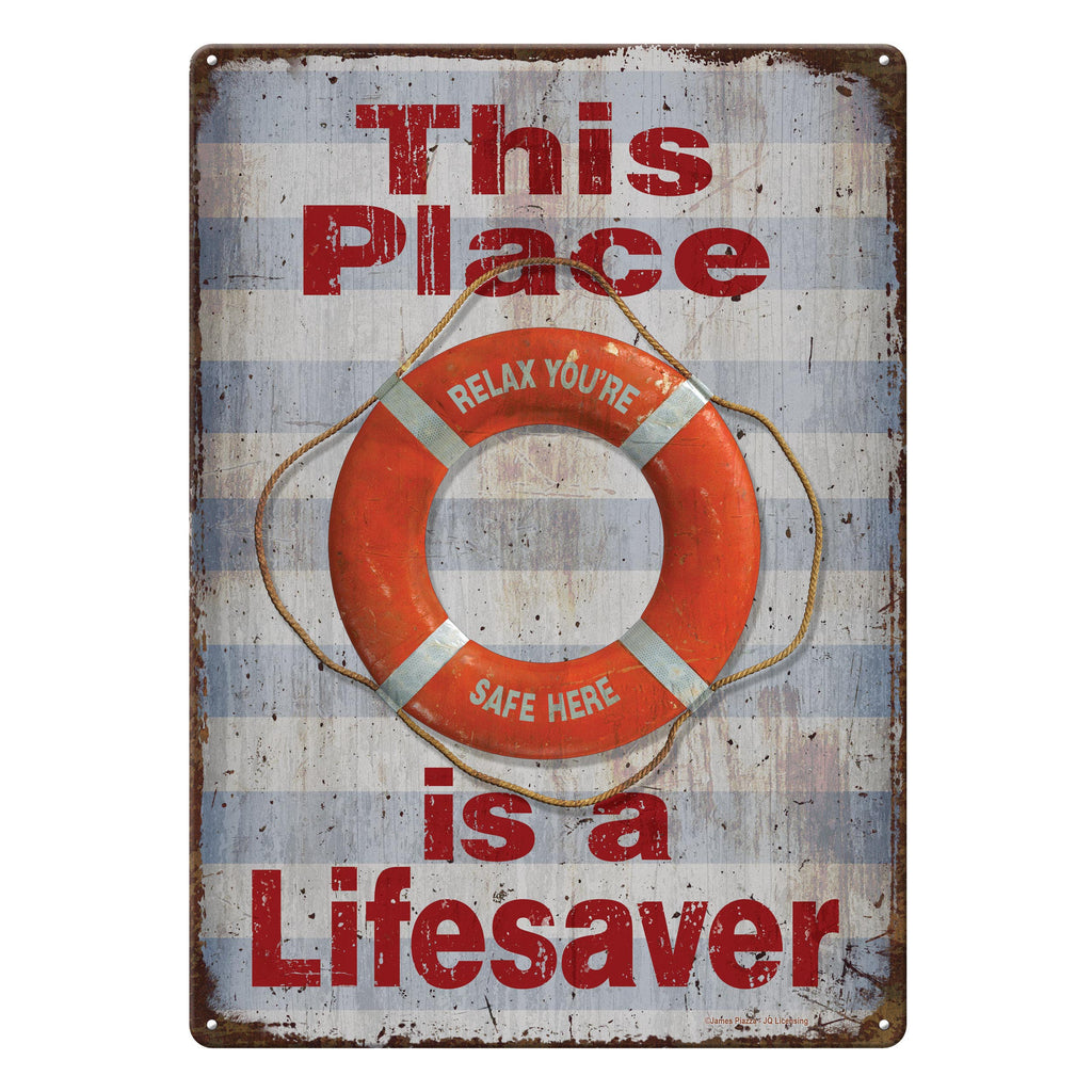 Metal Tin Signs, Funny, Vintage, Personalized 12-Inch x 17-Inch - Lifesaver