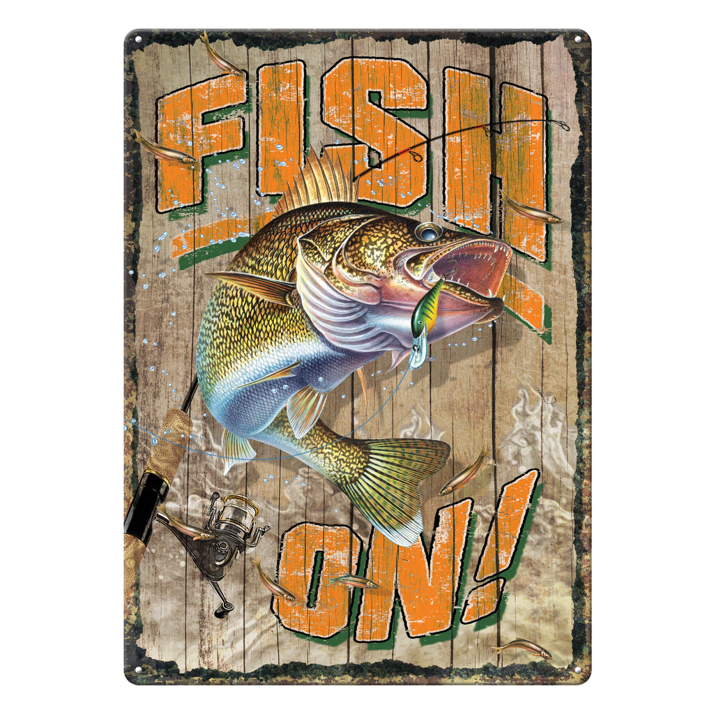 Metal Tin Signs, Funny, Vintage, Personalized 12-Inch x 17-Inch - Fish On