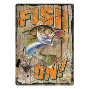 Tin Sign 12in x 17in - Fish On