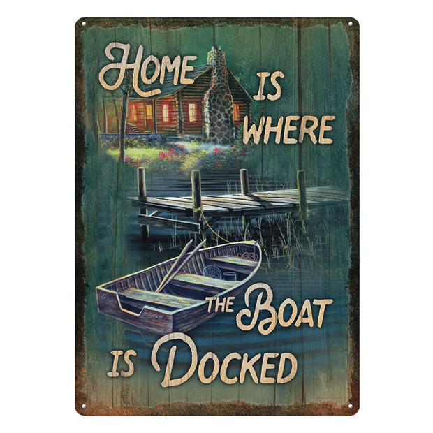 Tin Sign 12in x 17in - Home is Boat