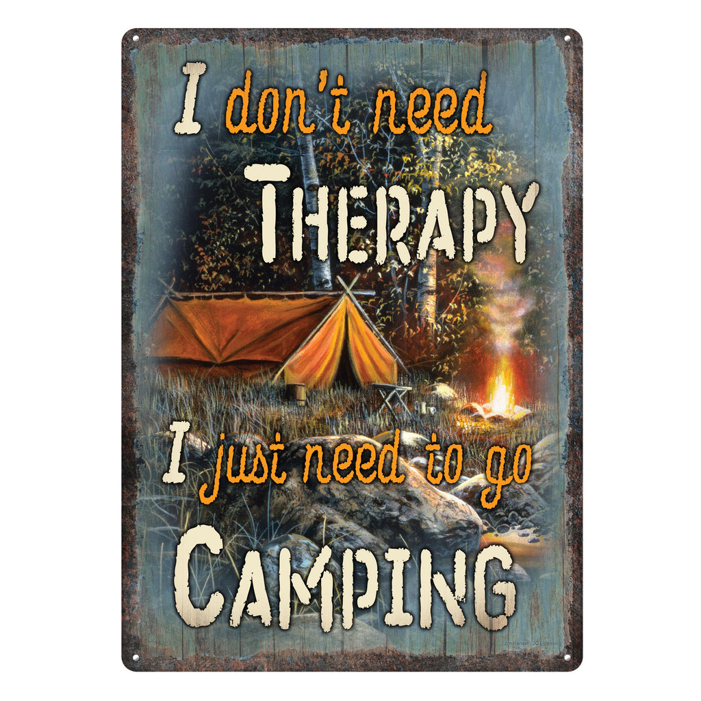 Metal Tin Signs, Funny, Vintage, Personalized 12-Inch x 17-Inch - Therapy Camping