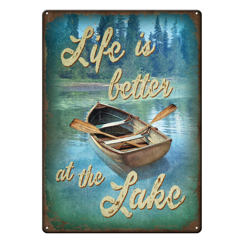 Metal Tin Signs, Funny, Vintage, Personalized 12-Inch x 17-Inch - Life Better Lake