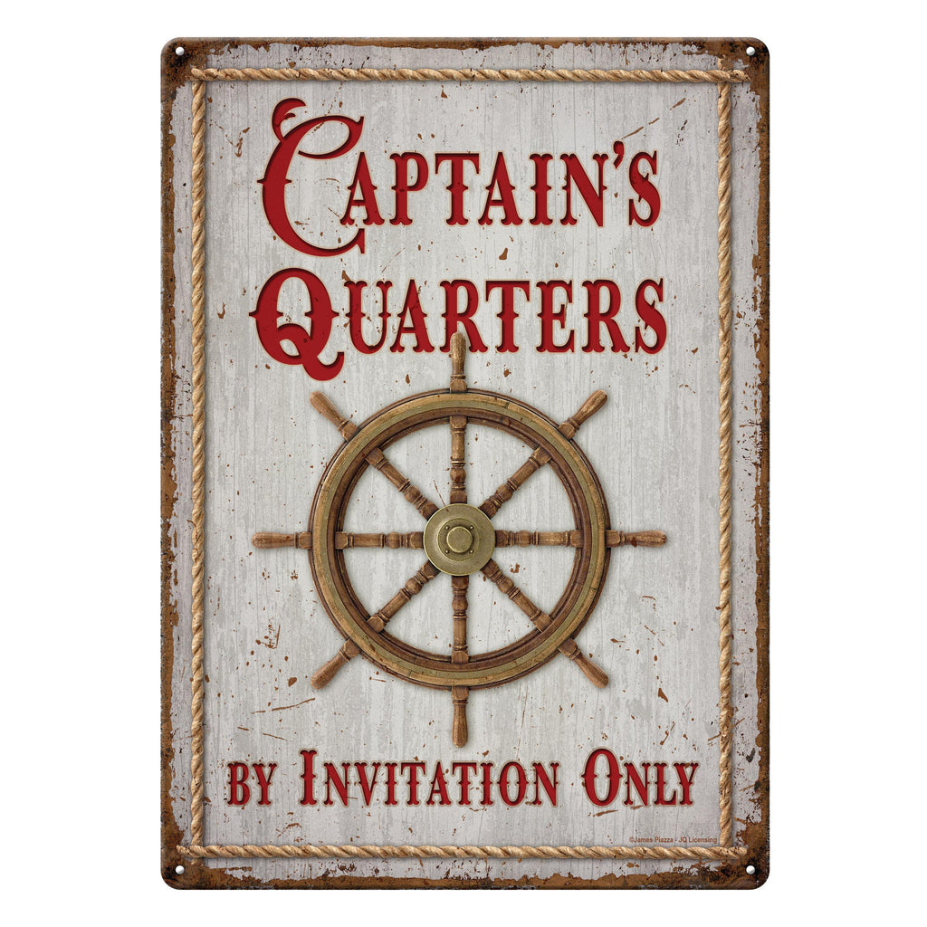 Metal Tin Signs, Funny, Vintage, Personalized 12-Inch x 17-Inch - Captain's Quarters