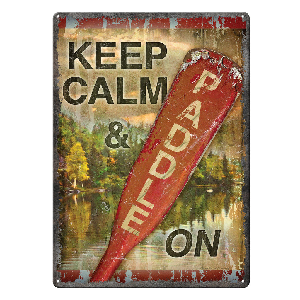 Metal Tin Signs, Funny, Vintage, Personalized 12-Inch x 17-Inch - Calm Paddle