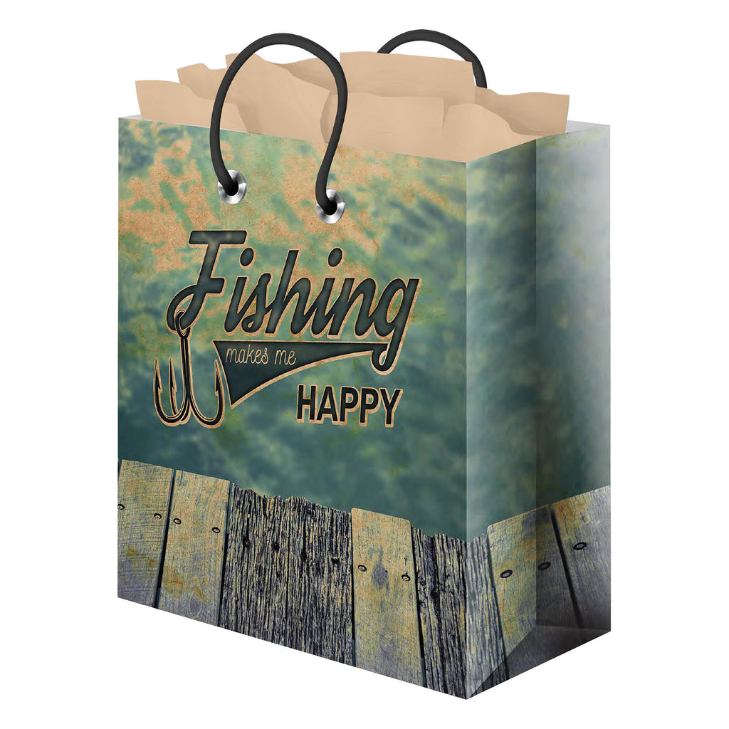 Gift Bag Medium with Tissue Paper - Fishing Happy