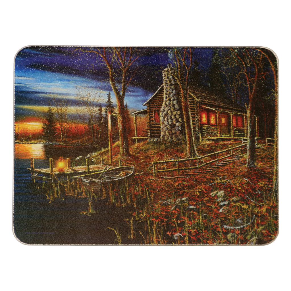 Cutting Board 12in x 16in - Cabin Scene