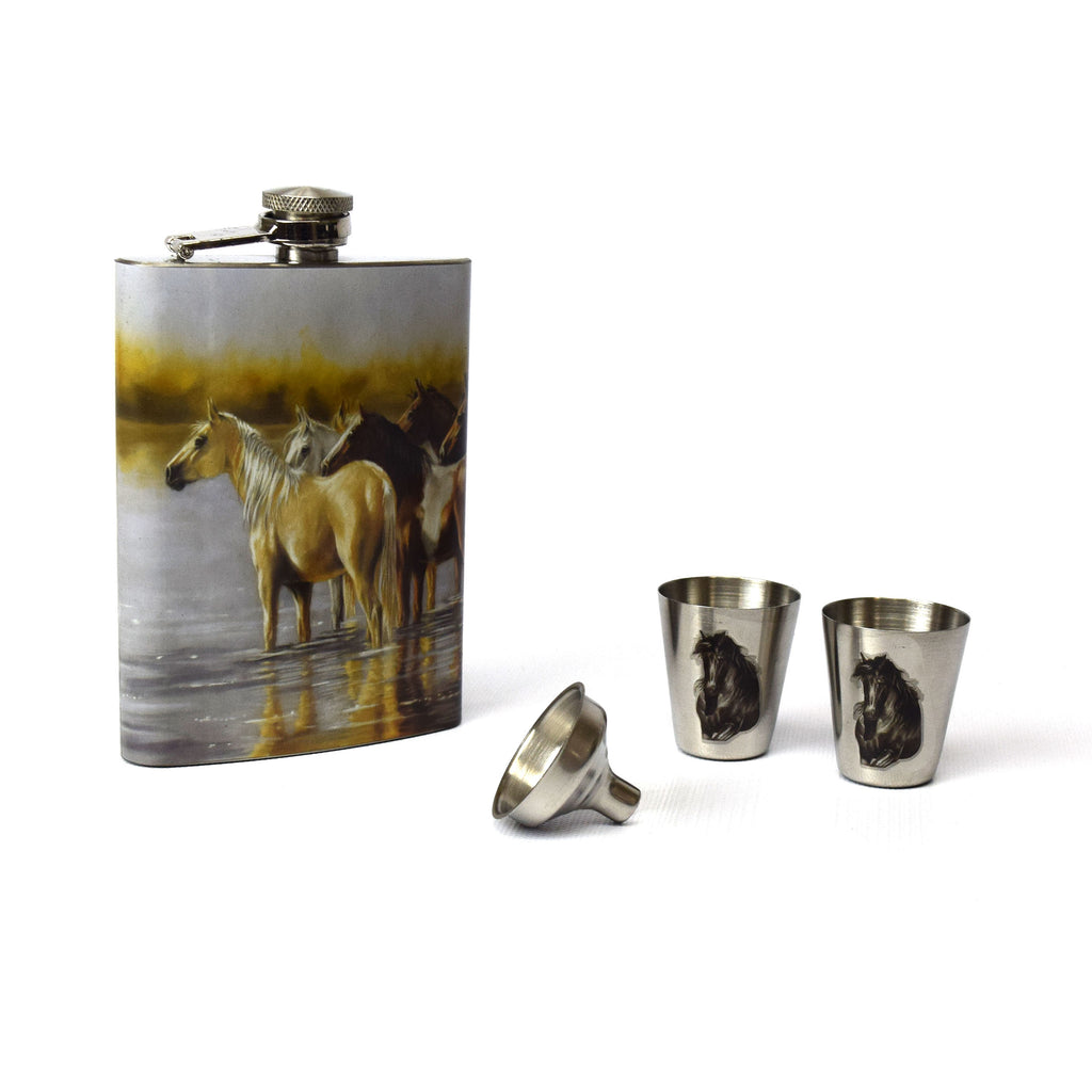 Flask and Shot Set - Horse