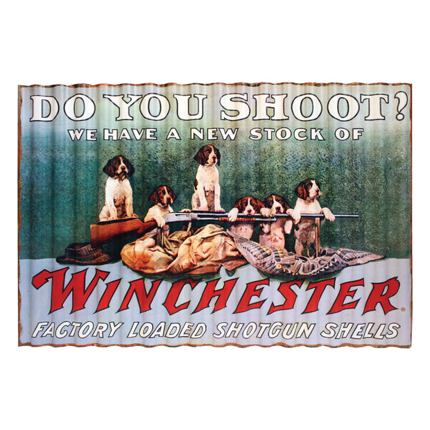 Corrugated Metal Sign 15in x 22in - Winchester Shoot