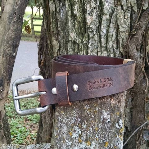 "Wanderer 1-1/2"" Wide Handmade Men's Leather Belt - Distressed Brown"