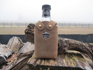 Handmade Leather Whiskey Bottle Holder 200ml Hand Riveted