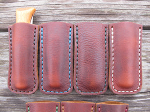 Handmade Leather Protector Sleeve For Opinel No. 8 Pocket Knife Hand Cut And Handsewn Patriot Brown