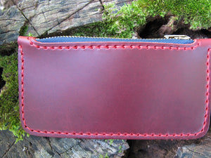 Zipper Pouch Wallet No. 1 Handcrafted - Cherry Red
