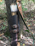 Handmade Leather Back Harness Quiver System Traditional Archery Bowhunting Archer