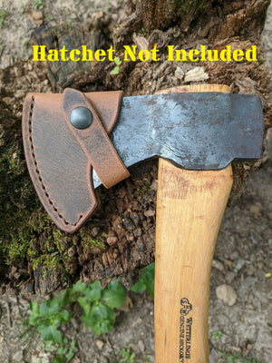 Wetterlings  Axe Buffalo Leather Sheath Mask (Axe NOT Included) Models (Hudson Bay SAW180, Small Hunting Axe 16H)