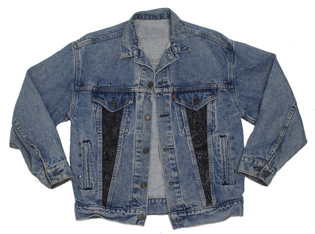 IMperfect Original - Denim Jacket with Paisley Inserts & Studs