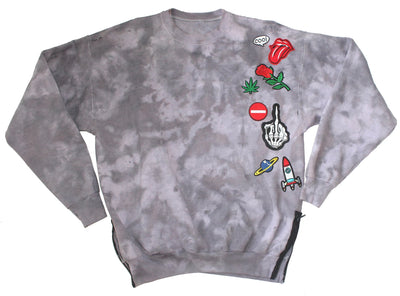 IMperfect Original - Tie-Dye Appliqué Sweatshirt w/ Side Zippers