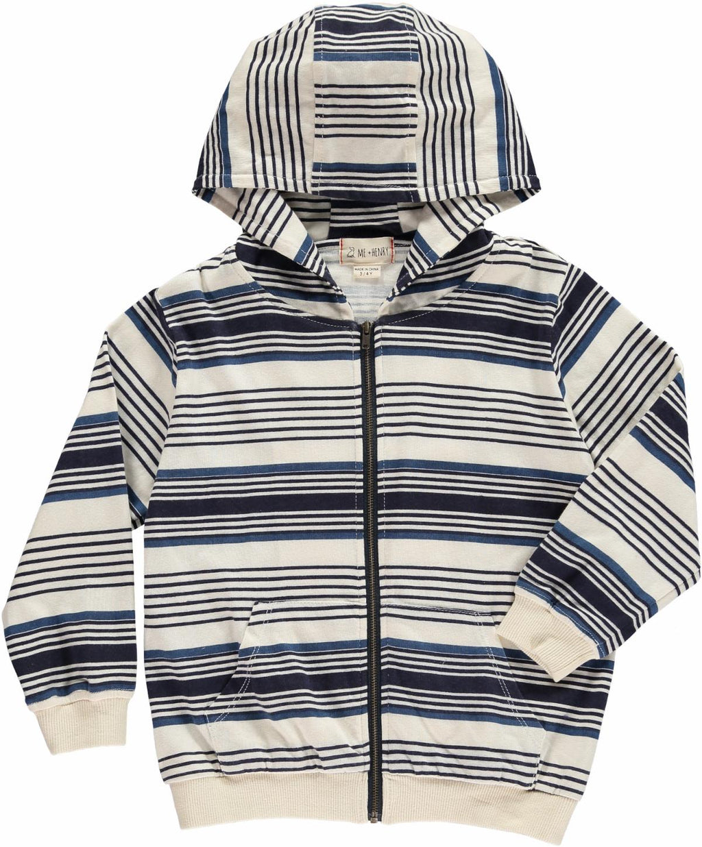 Me & Henry Blue Striped Hooded Top