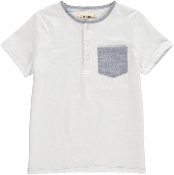 Me & Henry White tee with blue pocket