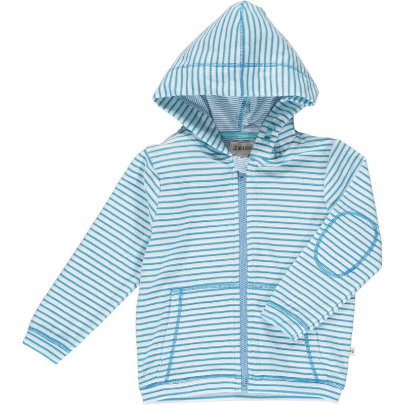 Me & Henry Padstow Towelling Hooded Top - Blue & White Stripe