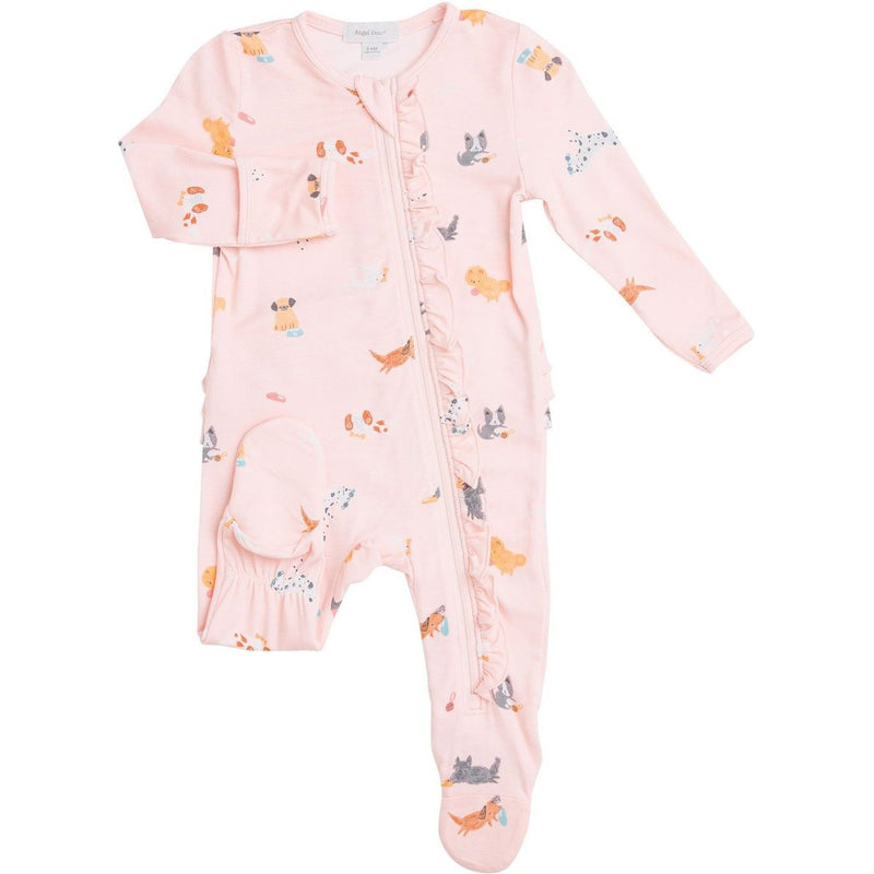 Angel Dear Ruffle Zipper Footie - Pink Puppy Play