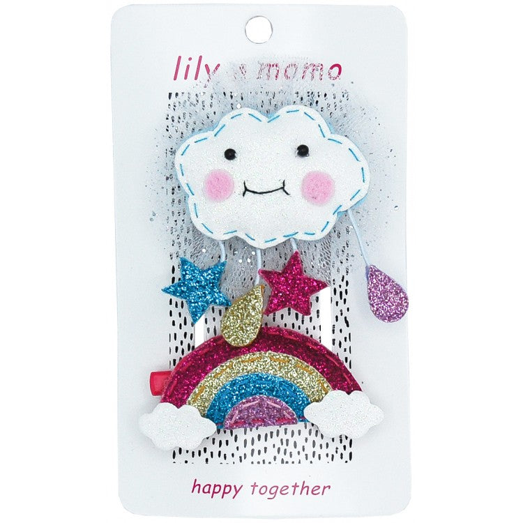Cloudy Day and Rainbow Hair Clip- Glitter White and Multi