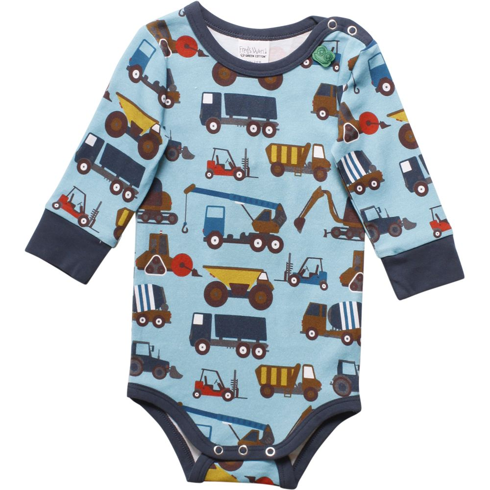 Fred's World by Green Cotton long Sleeve Trucks Onesie