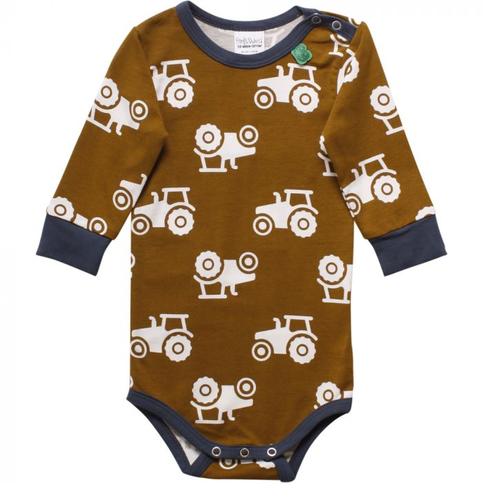 Fred's World by Green Cotton tractor long sleeve onesie