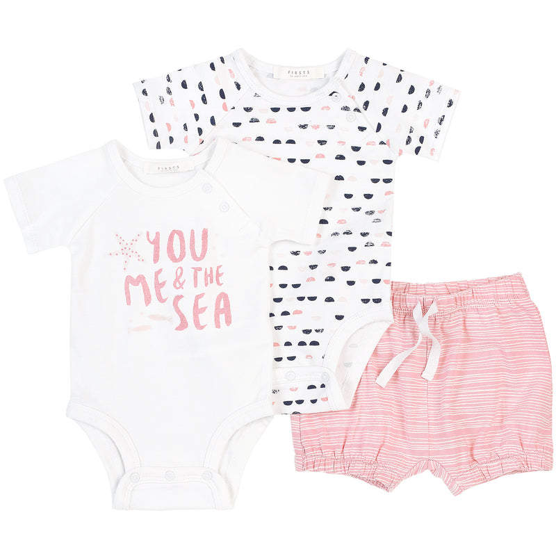 Petit Lem Firsts Ocean Girl 2 Diaper Shirts & 1 Short