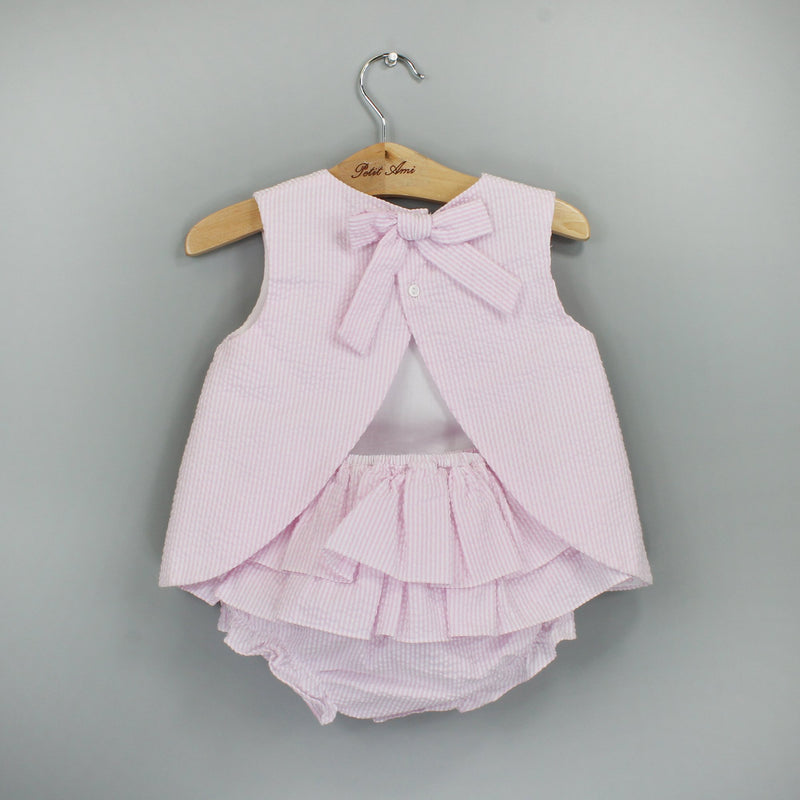 Petit Ami Classics Popover top & Ruffle Bloomers - Pink