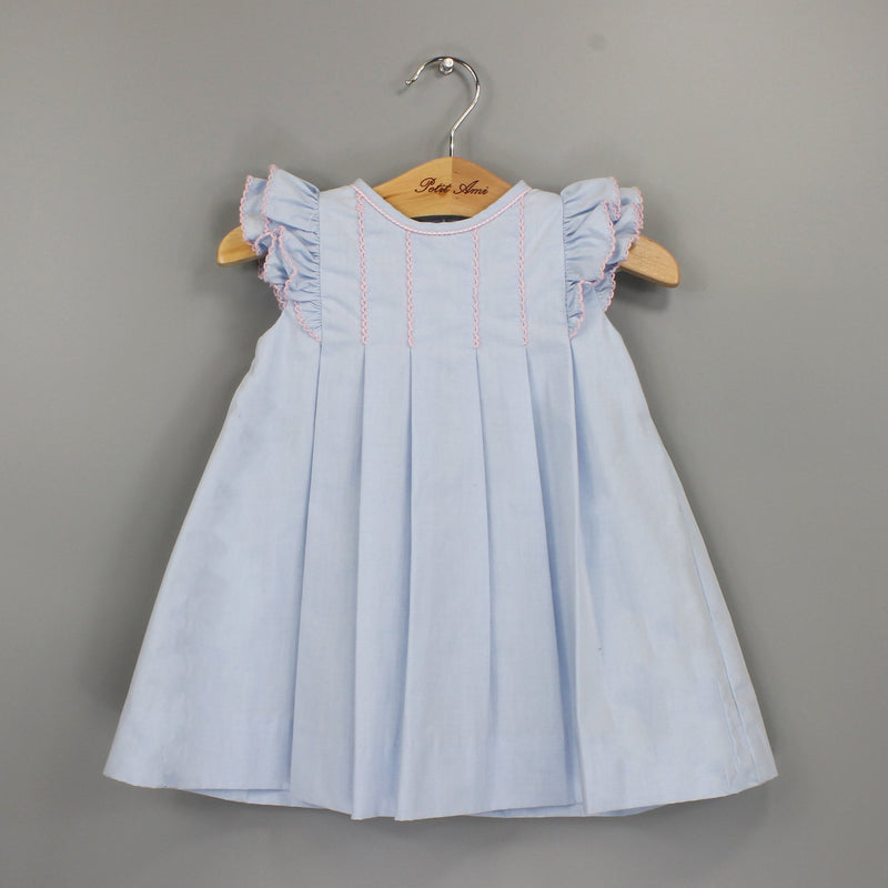 Blue Angelwing Dress with Smocking and Pink Trim