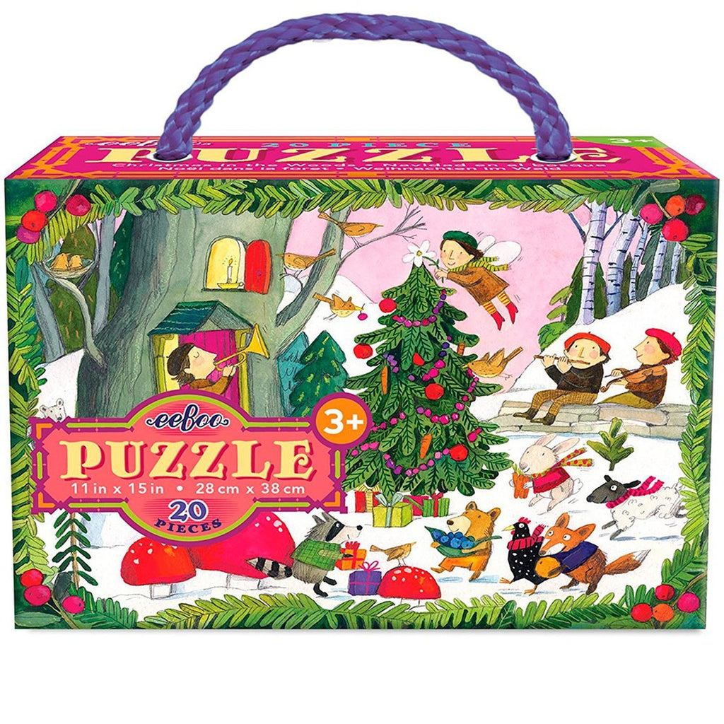 eeBoo Christmas in the Woods 20pc Glitter Puzzle