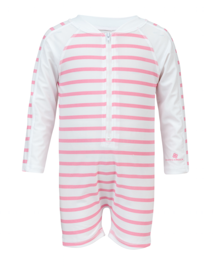 Snapper Rock 1 PC UV50 ZIP SUNSUIT LS - FRENCH PINK/WHITE STRIPE
