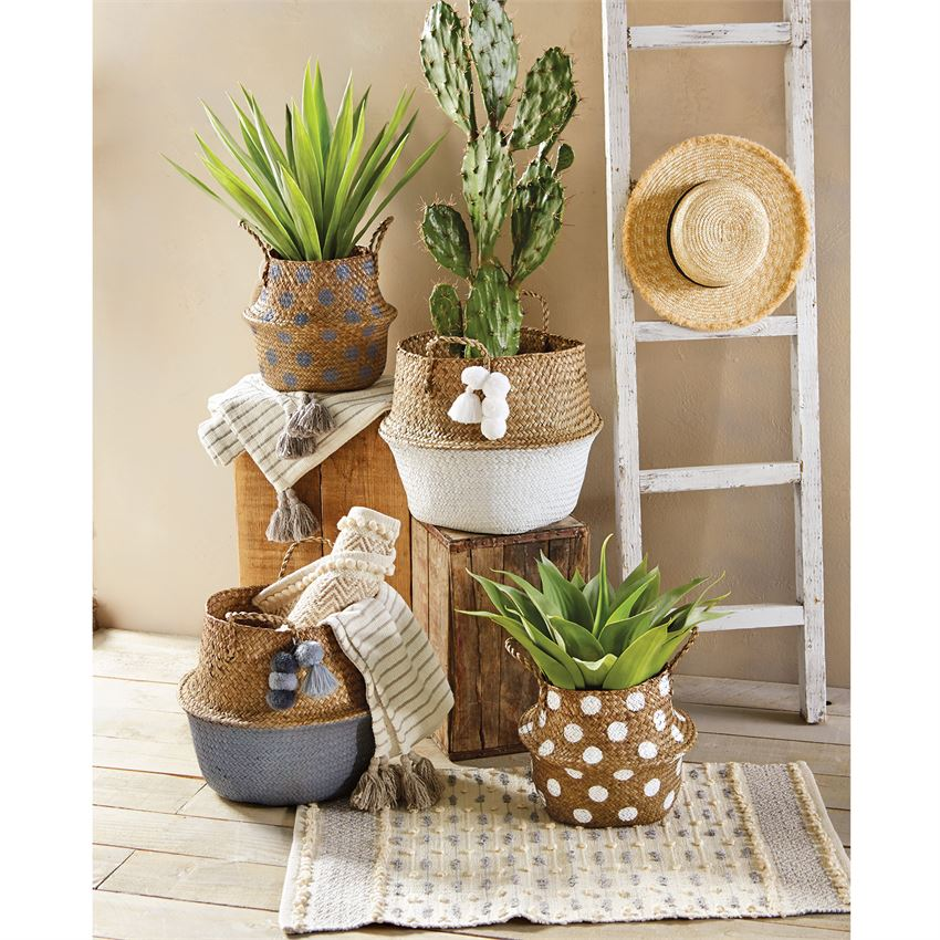 Mud Pie set of 2 White Neutral Collapsible Baskets
