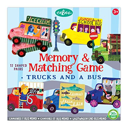 eeBoo Memory & Matching Game - Trucks and a Bus