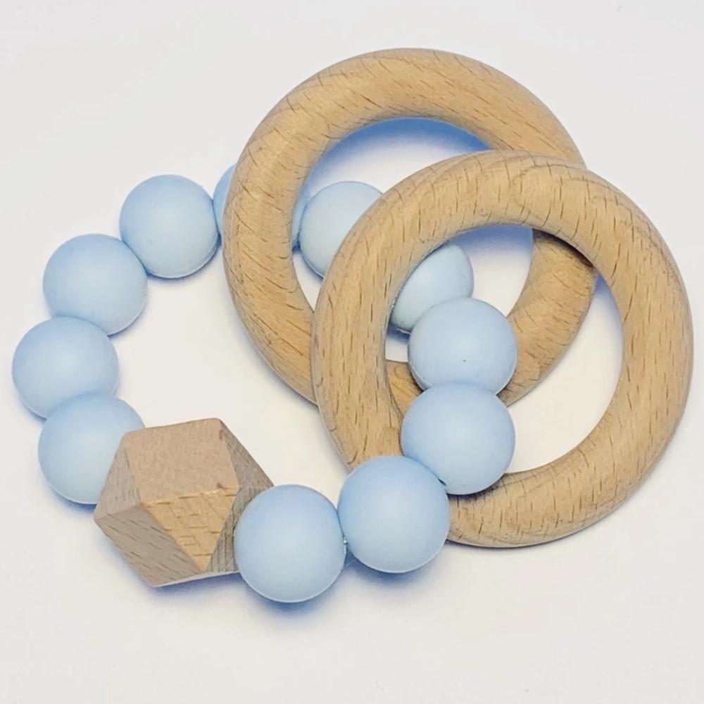 Sugar + Maple Silicone + Beechwood Teether 2-Ring - Blue