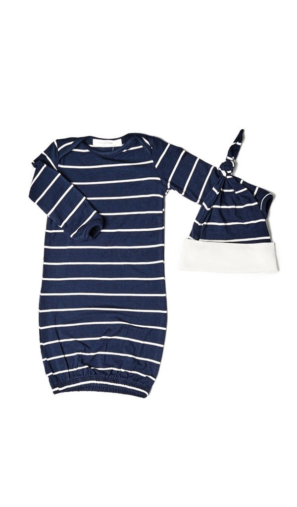 Baby Grey Gown 2-Piece - Navy
