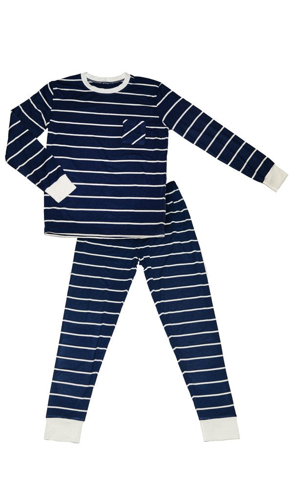 Everly Grey Emerson Childrens 2pc Navy Striped Pajama