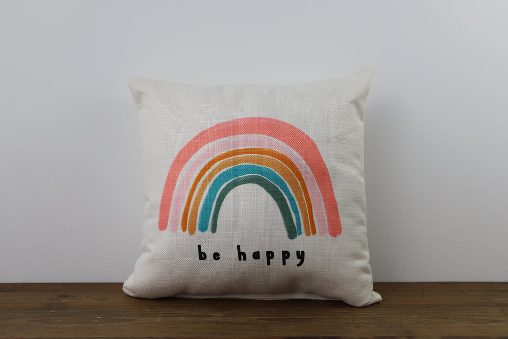 Little Birdie Arts Be Happy Rainbow Pillow