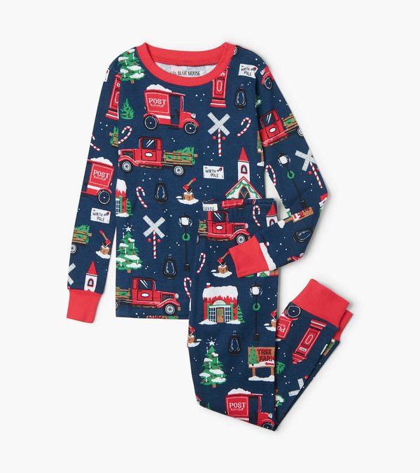 Little Blue House Pajama Set  - Boys Navy Christmas Village