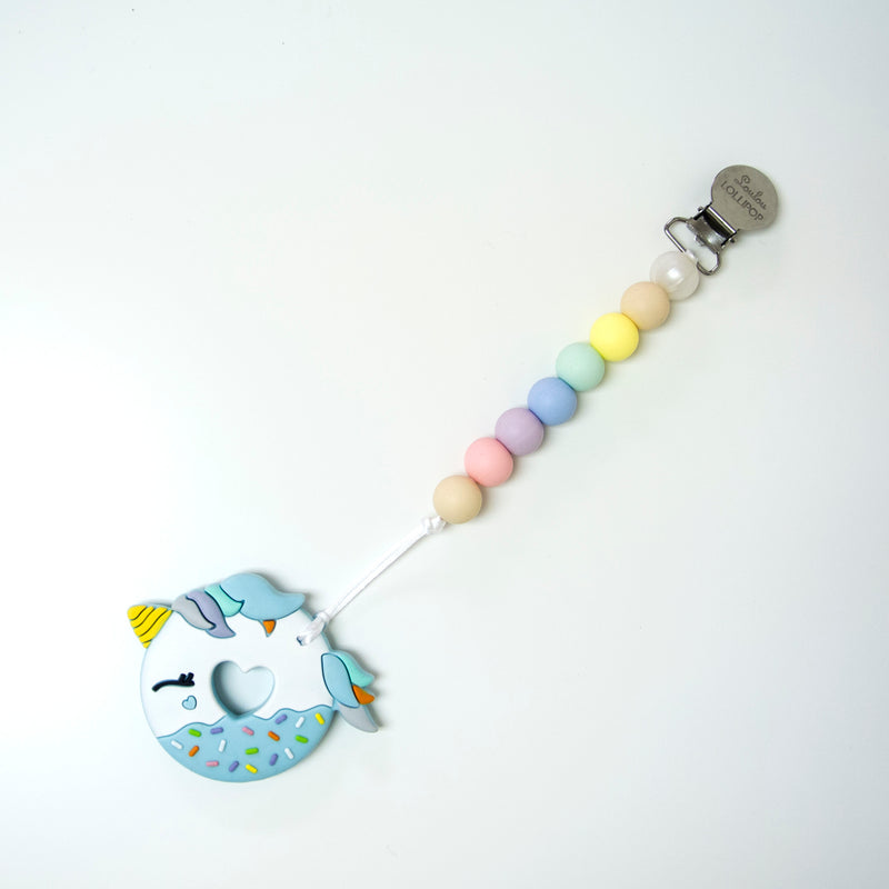 Loulou Lollipop Blue Unicorn Donut Teether with Holder Set