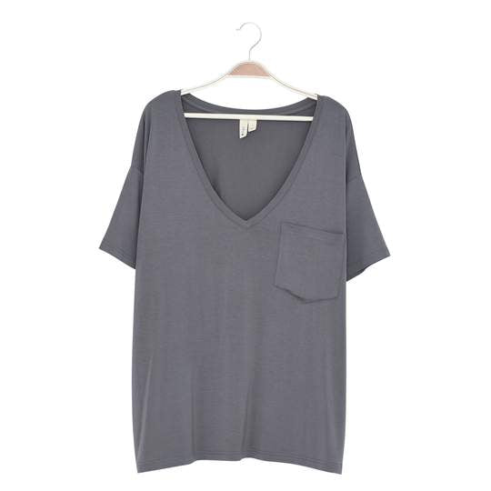 Kyte Baby Womens Relaxed Fit V-Neck - Charcoal